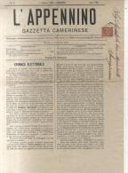 Tariffa Stampe 2 C. - Camerino 1883 - Gazzetta L´Appennino - Marcophilia
