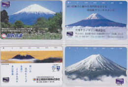 LOT De 4 Cartes Prépayées Japon - VOLCAN MONT FUJI - VULCAN Japan Prepaid Cards - VULKAN KARTEN - Volcans