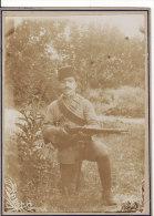 PHOTO 185 X 135mm TURQUIE-MILITAIRE TURC Avec Fusil-BaillonnetteCartouc Hière-Uniforme Photo Avant 1900 - Foto's