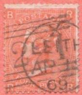 "GB SC #43 U P10 (R,B)  W/CDS (""LEITH / AP 1[9?] 69""), CV $150.00 - 1840-1901 (Victoria)"