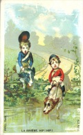 Chromo Thème Enfants, Chiens, Rivière, Lith. Aubry, Sans Publicité - Altri