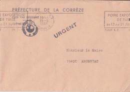 = Enveloppe Courrier En Franchise Préfecture De La Corrèze à Mairie D'Argentat Tulle 19 5 81 - Marcophilie (Lettres)