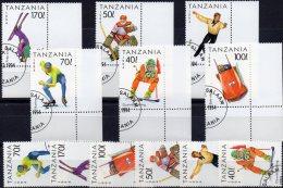 Lillehammer 1994 Tansania 1705-0 Plus 6xER O 9€ Hockey Bob Ski Eislauf Bf Olympic Sport Bloc Acrobatic Sheet Of Tanzanie