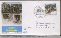 GERMANIA -   FDC  -    TAG  DER  BRIEFMARKE   -   PACCHI  E  CORRISPONDENZA  -  CYCLE - Posta