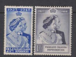 FALKLAND DEP. 1948 KGVI  SILVER WEDDING  SET  MH - Islas Malvinas