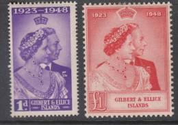 GILBERT &ELLICE ISL.. 1948 KGVI  SILVER WEDDING  SET  MH - Islas Gilbert Y Ellice (...-1979)