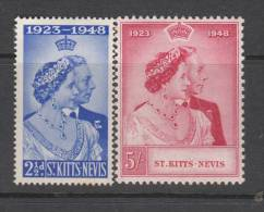 St KITTS 1948 KGVI  SILVER WEDDING  SET  MH - San Cristóbal Y Nieves - Anguilla (...-1980)