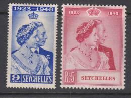 SEYCHELLES 1948 KGVI  SILVER WEDDING  SET  MH - Seychelles (...-1976)