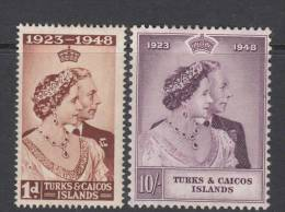 TURKS ISL. 1948 KGVI  SILVER WEDDING  SET  MH - Turcas Y Caicos