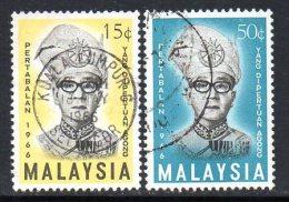 Malaysia 1966 Tuanku Ismail Nasiruddin Shah Set Of 2, Fine Used - Malasia (1964-...)