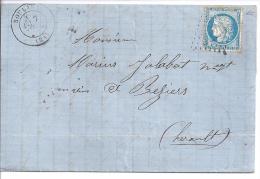 DOUBS - G.C. 3226  Et Cachet  Type 17  ROULANS Sur Lettre De 1872 - Marcophilie (Lettres)