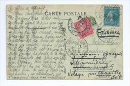 No 140 ,25cts Semeuse Sur Carte Postale Des Sables D'Olonne Pour La Suède Avec Timbre Suédois Pour La Réexpédition - Postmark Collection (Covers)