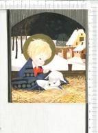 ENFANT  Et  MOUTON  -  Carte Double De Meilleurs Voeux - Santa Claus