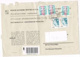 1125- Italia Storia Postale 30.12.99  Lettera Raccom. Reg. Aut. Trentino Alto Adige Affr. 3 X £. 3.000 + 2 X €. 0,34 - 6. 1946-.. Republic