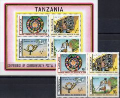 Postkonferenz 1981 Tansania 181/4+Block 25 ** 10€ Flagge Posthorn Läufer Brief-Verteiler M/s Flag Bloc Sheet Bf Tanzanie - Tanzania (1964-...)