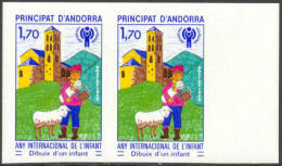 French Andorra #272 Mint Never Hinged Year Of The Child Imperf Pair From 1979 - French Andorra