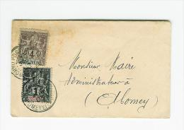BENIN DAHOMEY AFFRANCHISSEMENT MIXTE LETTRE DE POTO NOVO POUR ABOMEY TARIF DES IMPRIMES - Benin (1892-1894)