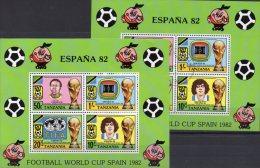 Fussball-WM Spanien 1982 Tanzania Block 27 ** Plus O 26€ Spieler Maradonna Pokal M/s Sport Bloc Soccer Sheet Of Tanzanie - Tanzania (1964-...)