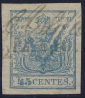 1850 - 45 C. Azzurro Ardesia - Varietà (class.verde) - Lombardo-Veneto