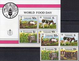 FAO Ernährung 1982 Tanzania 209/2+ Block 30 ** 10€ Pflug Kuh Traktor Mais Getreide-Silo Ratte M/s Bloc Sheet Bf Tanzanie - Tanzania (1964-...)