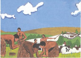 CARE 50th Anniversary Postcard, African Village By Artist Phillip Muchuma Age 14, Nairobi Kenya - Kenya