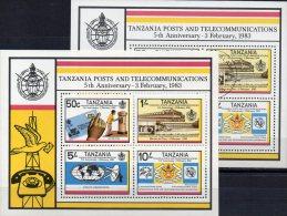 Post 1983 In Tanzania Block 31 ** + O 11€ Brief Antenne Telefon-Institut ITU Transport M/s Bloc Train Sheet Bf Tanzanie - Busses
