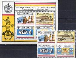 Post 1983 Tanzania 217/0 + Block 31 ** 11€ Brief Antenne Telefon-Institut ITU Transport M/s Bloc Train Sheet Bf Tanzanie - Busses