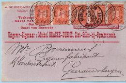 N°108 (strook Van 5) Op Postkaart, Afst. ST GILLIS (DENDERMONDE) ST GILLES (TERMONDE) 17/12/1912, Uitgever BRACKE-DUBOIS - 1912 Pellens