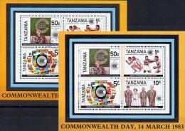 Commonwealth Tag 1983 Tansania Block 32 ** Plus O 10€ Verbindung Zu Großbritannien Box M/s Flag Bloc Sheet Bf Tanzania - Tanzania (1964-...)