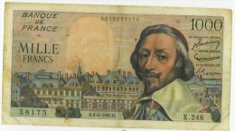 1000 Francs Richelieu, Ref Fayette 42/20, état TTB - 1 000 F 1953-1957 ''Richelieu''
