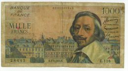 1000 Francs Richelieu, Ref Fayette 42/11, état TB/TTB - 1 000 F 1953-1957 ''Richelieu''