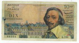 10 NF Richelieu, Fayette 57/7, état TTB - 1959-1966 Nouveaux Francs