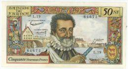 50 NF Henri IV, Fayette 58/2, état SPL - 1959-1966 ''Nouveaux Francs''