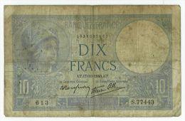 10 Francs Minerve, Fayette 7/17, état TB - 1871-1952 Anciens Francs Circulés Au XXème