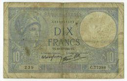 10 Francs Minerve, Fayette 7/16, état TB - 1871-1952 Anciens Francs Circulés Au XXème