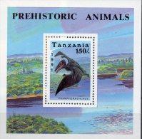 Dinosaurier Naturschutz 1991 Tansania Block 146 ** 2€ Ramphorhynchus Prehistorics M/s Bloc Fauna WWF Sheet Bf Tanzanie - Tanzanie (1964-...)