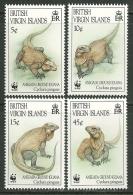 """Virgin Islands     """" Iguanas-World Wildlife Fund """"  Set    SC# 791-94  MNH** - British Virgin Islands"""