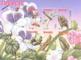 GRENADA   3296 MINT NEVER HINGED MINI SHEET OF BUTTERFLIES-INSECTS   # M-358-1  ( - Butterflies