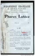 PHARES LUTECE - DINANDERIE FRANCAISE - E. DIEM & R. POEY - USINE A VAPEUR - Old Paper