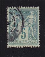 FRANCE  Y.T. N° 75  Vert Bleu  Oblitéré  Centrage Parfait - 1876-1898 Sage (Type II)