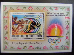 HAUTE - VOLTA REPUBLIQUE  ALTO VOLTA 1975 Juegos Olimpicos De Verano Montreal Preolimpiada Yvert Nº Blok 5 AL ** MNH - Verano 1976: Montréal