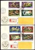 UNGARN 1971 - Welt Jagdausstellung In Budapest - 2 FDC Mit Reko MiNr.2664-2671 - Gibier