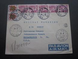 Lettre Affranchissement Multiple Marianne Gandon Et Blason Touraine Cachet Manuel Colombes 11/4/1953> Philadelphie US - Storia Postale