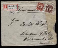 A1944) Schweden R-Brief Von Stockholm 1.6.1917 N. Schlachtensee Mit Zensur !!