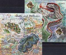 Naturschutz Fisch 1991 Tansania Block 168+179 O 7€ Riesen-Muschel Ms WWF More Fauna Bloc Tridacha Qiam Sheet Bf Tanzania - Tanzanie (1964-...)