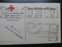 Carte CROIX ROUGE F.M. 1916 - Cachet VISE PRISONNIERS De GUERRE Dépôt De LA LANDE ( Dordogne)  + Autres Cachets - Poststempel (Briefe)