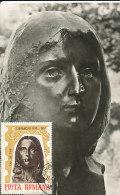 D12476 CARTE MAXIMUM CARD 1967 ROUMANIA - WOMAN'S HEAD BY BRANCUSI CP ORIGINAL - Sculpture