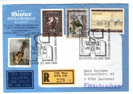 Österreich / Austria 1979 - 1981, Registered Cover, WIPA 1981 - Hotel Duna Inter-Continental Budapest Hungary - 1981-90 Covers