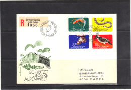 LIECHTENSTEIN 1974, Y&T 552/5 Sur Lettre Recommandée Vers La Suisse, Theme ANIMAUX. (3CF204) - Storia Postale
