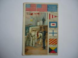 CHROMO   - LES PAVILLONS - Guerre - Commerce - Marine - AMERIQUE DU NORD - Trade Cards